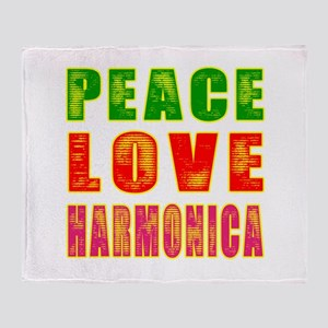 Peace Love Harmonica Throw Blanket