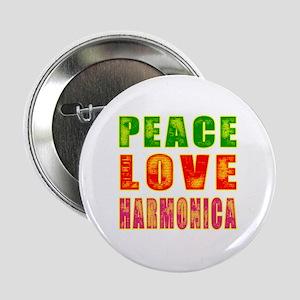 """Peace Love Harmonica 2.25"""" Button"""