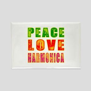 Peace Love Harmonica Rectangle Magnet