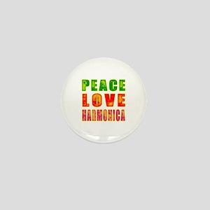Peace Love Harmonica Mini Button