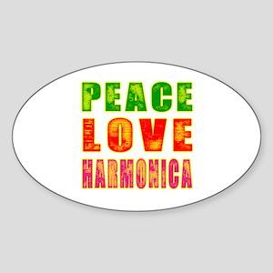 Peace Love Harmonica Sticker (Oval)