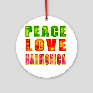 Peace Love Harmonica Ornament (Round)