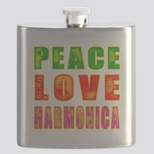 Peace Love Harmonica Flask