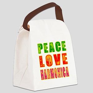 Peace Love Harmonica Canvas Lunch Bag