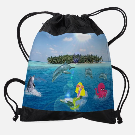 Cute Mermaid kid Drawstring Bag