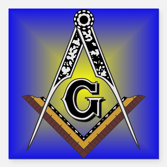 """Masonic Square and Compass Square Car Magnet 3"""" x"""