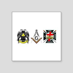 "Multiple Masonic Bodies Square Sticker 3"" x 3"