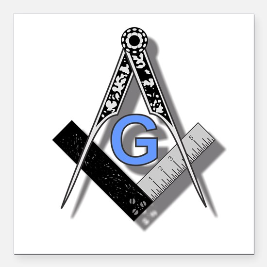 Masonic Square and Compass #2 Square Car Magnet 3&