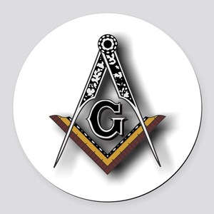 Masonic Square and Compass Round Car Magnet