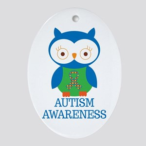 Autism Awareness Owl Ornament (Oval)