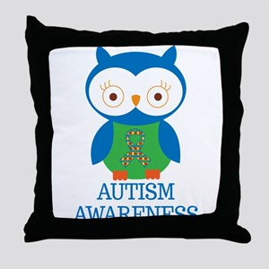 Autism Awareness Owl Throw Pillow