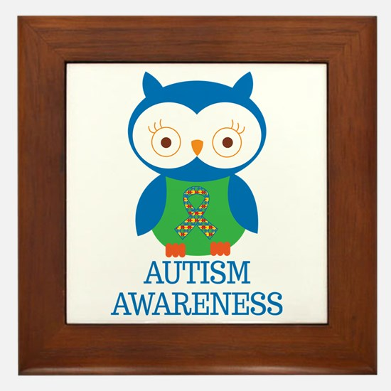 Autism Awareness Owl Framed Tile