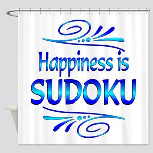Happiness is Sudoku Shower Curtain