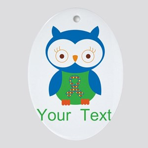 Personalized Autism Owl Ornament (Oval)