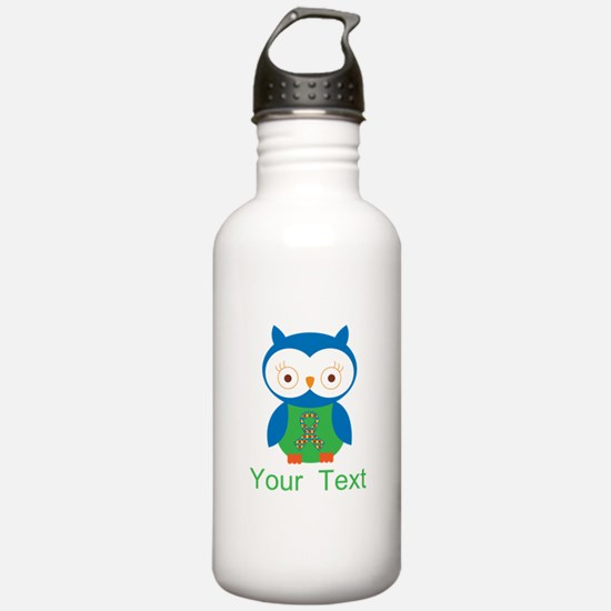 Personalized Autism Owl Water Bottle