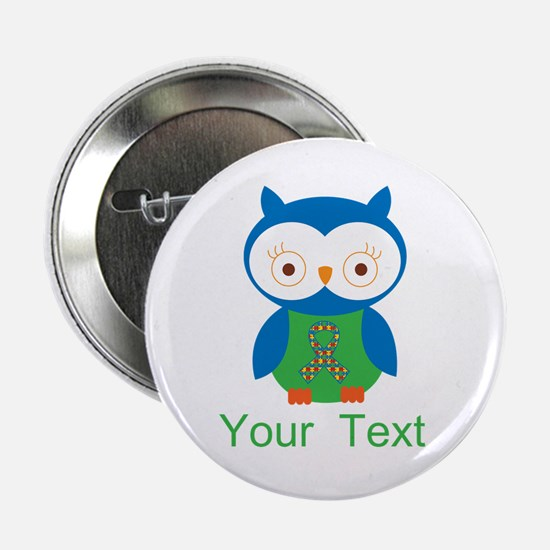 """Personalized Autism Owl 2.25"""" Button"""