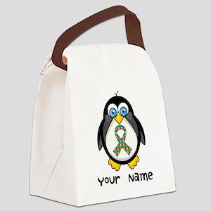 Personalized Autism Penguin Canvas Lunch Bag