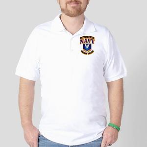 NAVY - PO3 - Gold Golf Shirt