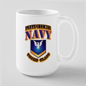 NAVY - PO3 - Gold Large Mug
