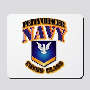 NAVY - PO3 - Gold Mousepad