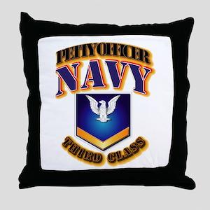 NAVY - PO3 - Gold Throw Pillow