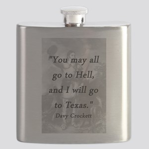 Crockett - I Will Go To Texas Flask