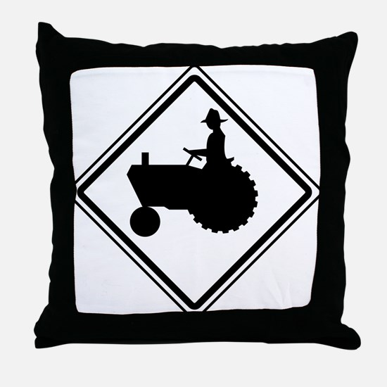 Tractor Crossing Ahead Throw Pillow