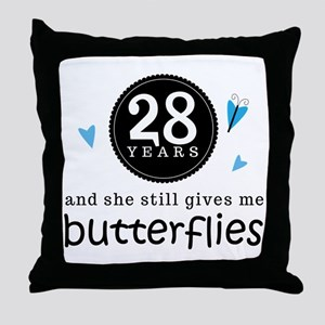 28 Year Anniversary Butterfly Throw Pillow