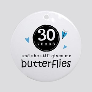 30 Year Anniversary Butterfly Ornament (Round)