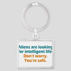 Aliens Looking Landscape Keychain