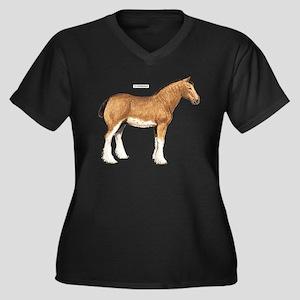 Clydesdale Horse Women's Plus Size V-Neck Dark T-S