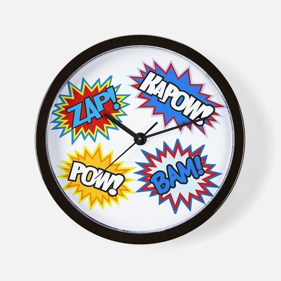 Hero Pow Bam Zap Bursts Wall Clock