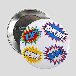 """Hero Pow Bam Zap Bursts 2.25"""" Button"""