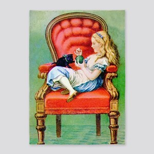 Alice & Dinah in the Big Red Chair 5'x7'Area Rug