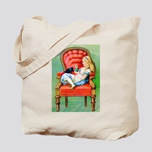 Alice & Dinah in the Big Red Chair Tote Bag