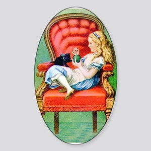Alice & Dinah in the Big Red Chair Sticker (Oval)