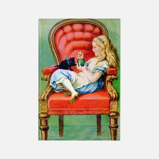 Alice & Dinah in the Big Red Chair Rectangle Magne