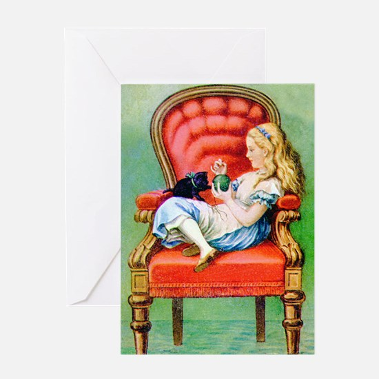 Alice & Dinah in the Big Red Chair Greeting Card
