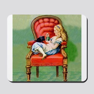 Alice & Dinah in the Big Red Chair Mousepad