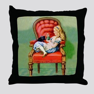 Alice & Dinah in the Big Red Chair Throw Pillow