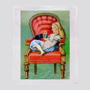 Alice & Dinah in the Big Red Chair Throw Blanket