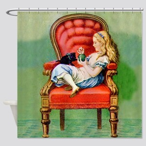 Alice & Dinah in the Big Red Chair Shower Curtain