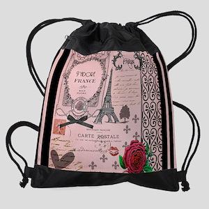 Vintage Pink Paris Collage Drawstring Bag