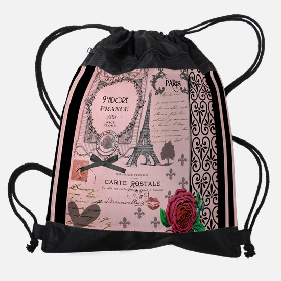 Vintage Pink Paris Collage Drawstring Bag