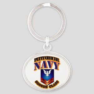 NAVY - PO2 Oval Keychain
