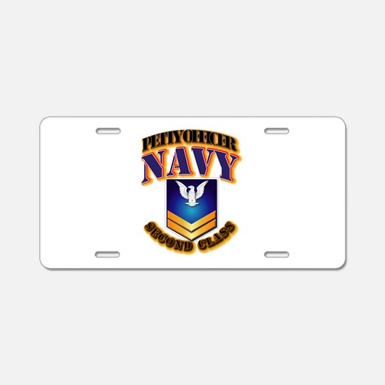 NAVY - PO2 - Gold Aluminum License Plate