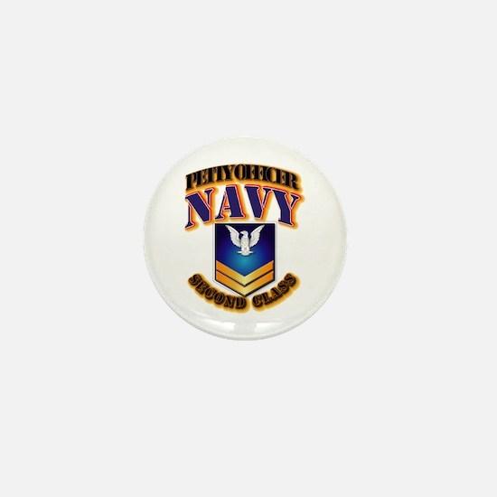 NAVY - PO2 - Gold Mini Button