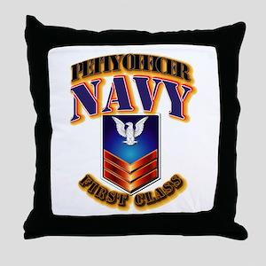 NAVY - PO1 Throw Pillow