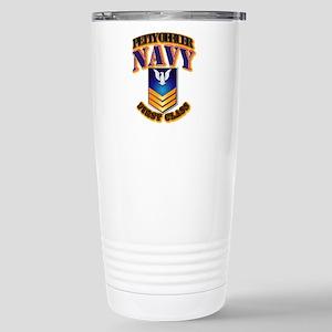 NAVY - PO1 - Gold Stainless Steel Travel Mug