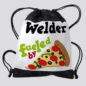 Welder Fueled By Pizza Drawstring Bag